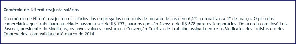 """Reajuste de Salários – """"O Fluminense"""" – Página 4 – Coluna INFORME – 06/04/2013"""