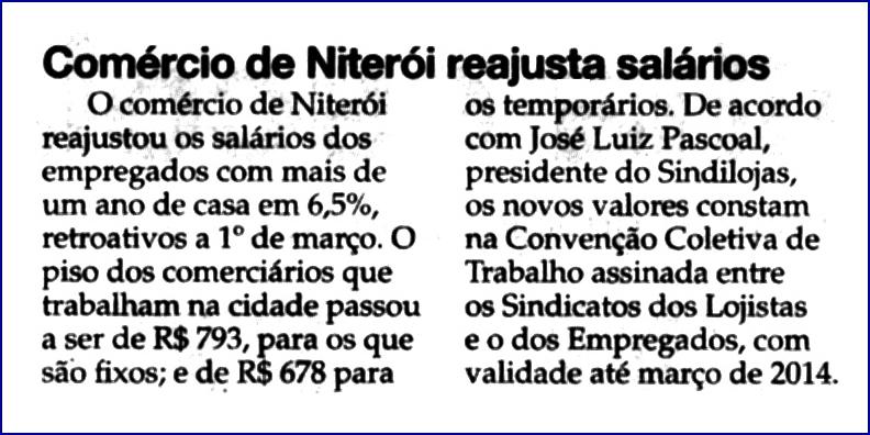 """Reajuste de Salários – """"O Fluminense"""" – Online – 09/04/2013"""
