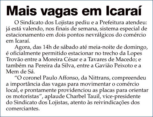 """Vagas – """"O Fluminense"""" – Página 4 – Coluna INFORME – 06/04/2013"""