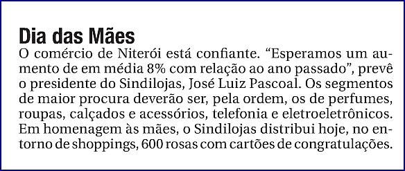 """Dia das Mães – """"O Fluminense"""" – Página 4 – Coluna Informe – 10/05/2013"""