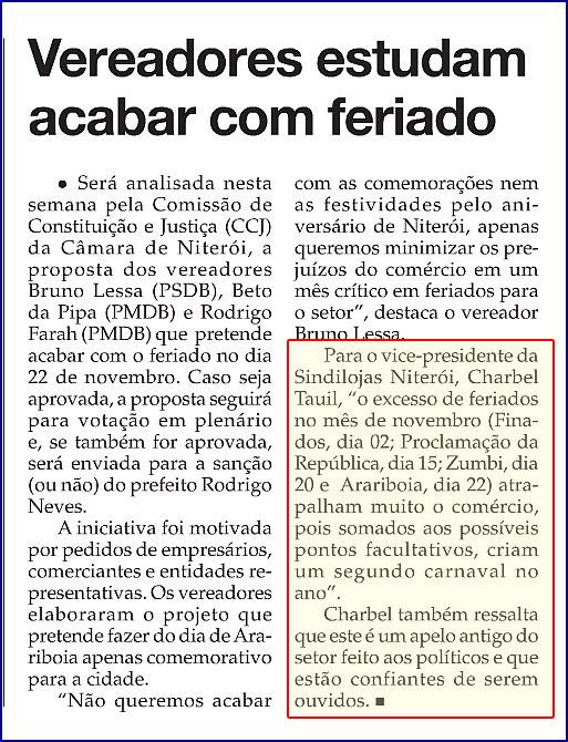 """Feriados – """"O Fluminense"""" – Página 4 – 07/05/2013"""