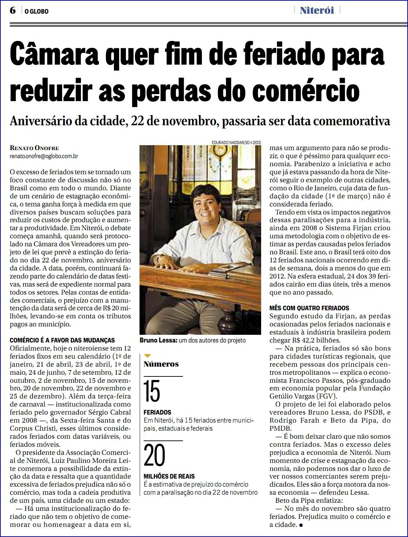 "Feriados – ""O Globo Niterói"" – 05/05/2013"