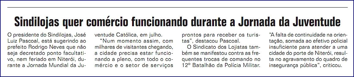 """Funcionamento do comércio – """"Jornal da Cidade"""" – Página 2 – 27/04/2013"""